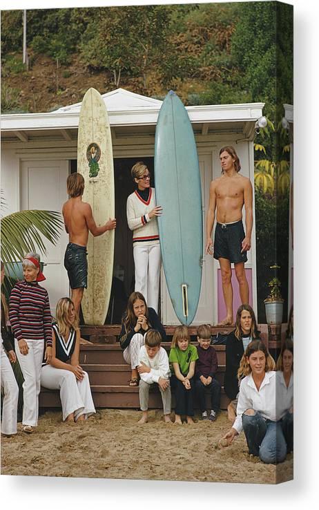 Laguna Beach Canvas Print featuring the photograph Laguna Beach Surfers by Slim Aarons