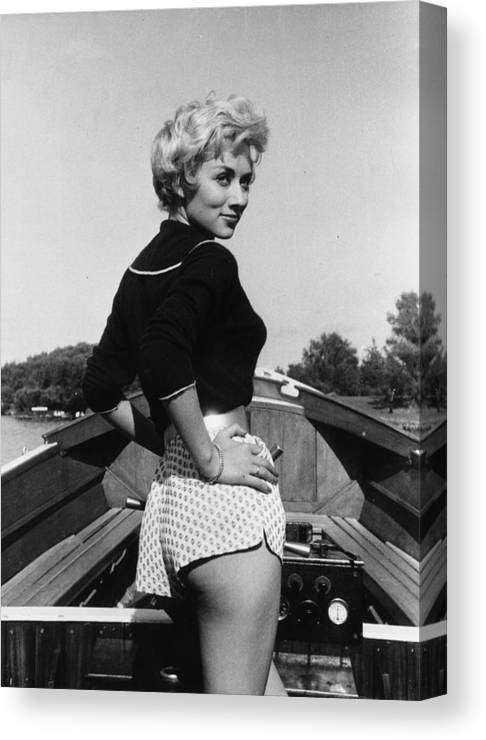 People Canvas Print featuring the photograph Leslie Caroll by Kurt Hutton