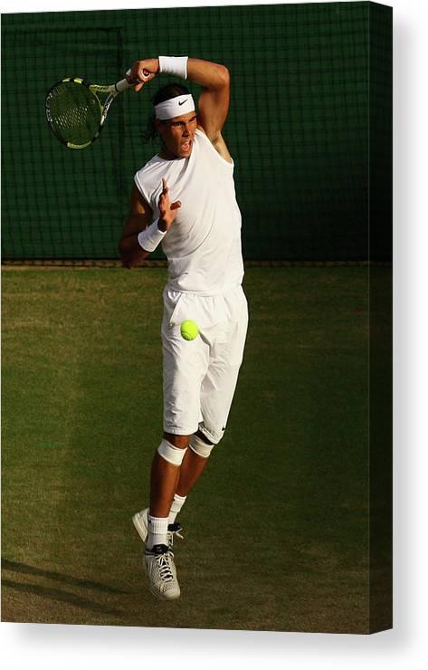 Rafael Nadal Canvas Print featuring the photograph The Championships - Wimbledon 2008 Day by Ian Walton