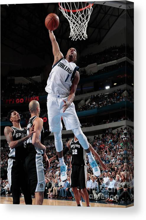 Nba Pro Basketball Canvas Print featuring the photograph San Antonio Spurs V Dallas Mavericks by Glenn James