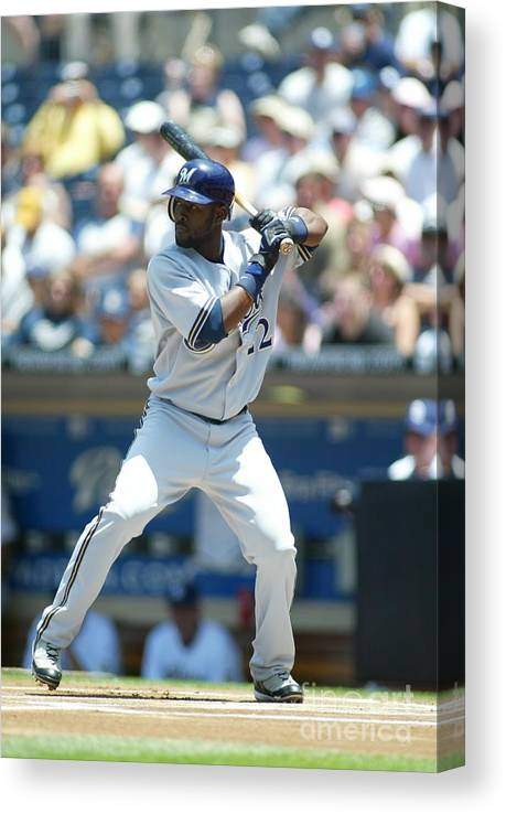 Tony Gwynn Jr. Canvas Print featuring the photograph Milwaukee Brewers V San Diego Padres by Rob Leiter
