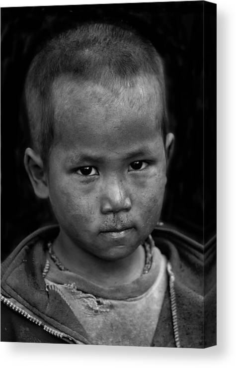 Nepal Canvas Print featuring the photograph Nepal Monochrome Portraits Of Children (series) by Yvette Depaepe
