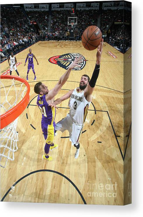 Smoothie King Center Canvas Print featuring the photograph Los Angeles Lakers V New Orleans by Layne Murdoch