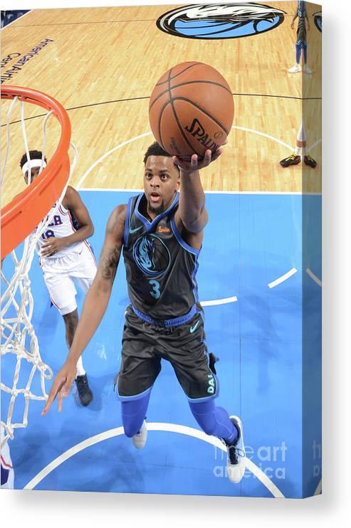 Nba Pro Basketball Canvas Print featuring the photograph Philadelphia 76ers V Dallas Mavericks by Glenn James