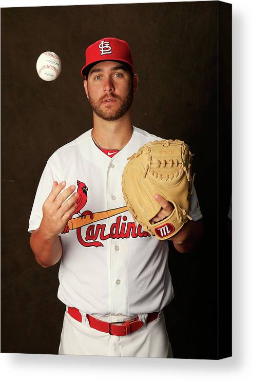Media Day Canvas Print featuring the photograph St. Louis Cardinals Photo Day by Rob Carr