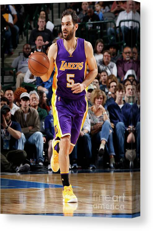 Nba Pro Basketball Canvas Print featuring the photograph Los Angeles Lakers V Dallas Mavericks by Glenn James