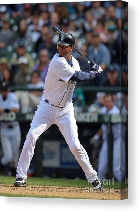 American League Baseball Canvas Print featuring the photograph Detroit Tigers V Seattle Mariners by Otto Greule Jr