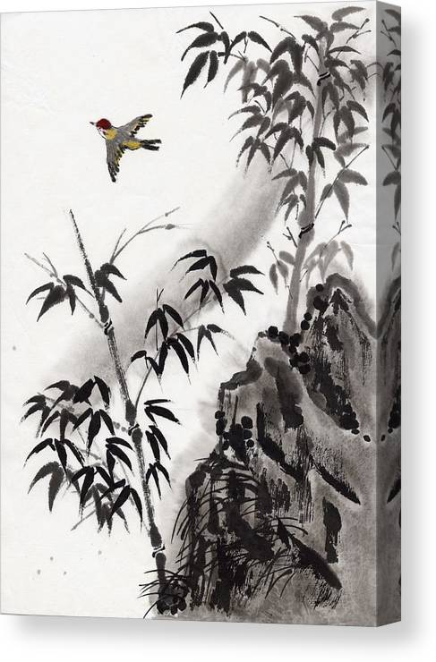 Scenics Canvas Print featuring the digital art A Bird And Bamboo Leaves, Ink Painting by Daj