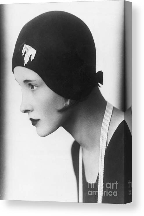 People Canvas Print featuring the photograph A Woman Modeling A Cloche by Bettmann