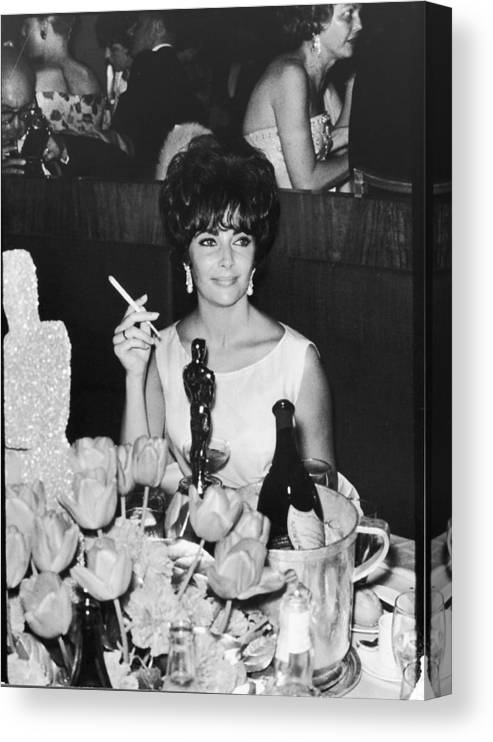 Elizabeth Taylor Canvas Print featuring the photograph Actress Elizabeth Taylor At Hollywood by Allan Grant