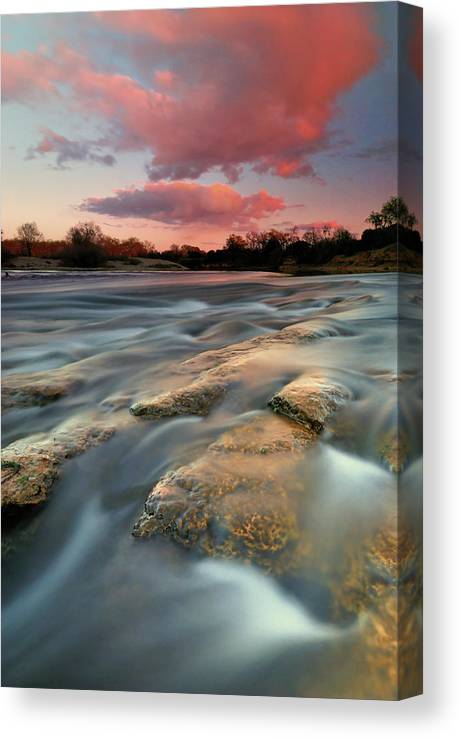 Scenics Canvas Print featuring the photograph American River Parkway At Sunset by David Kiene