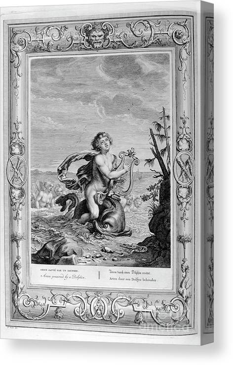 Singer Canvas Print featuring the drawing Arion Saved By A Dolphin, 1733. Artist by Print Collector