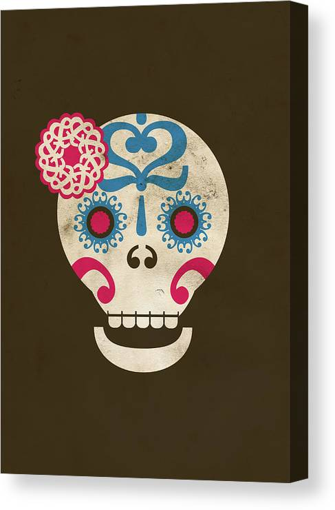 Animal Skull Canvas Print featuring the digital art Calaca by Marco Recuero
