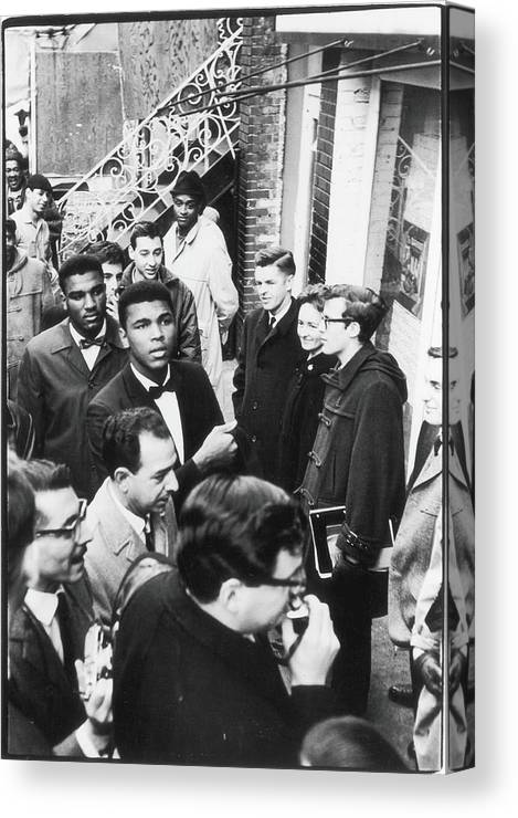 Crowd Canvas Print featuring the photograph Clay Attends Poetry Reading by Fred W. McDarrah