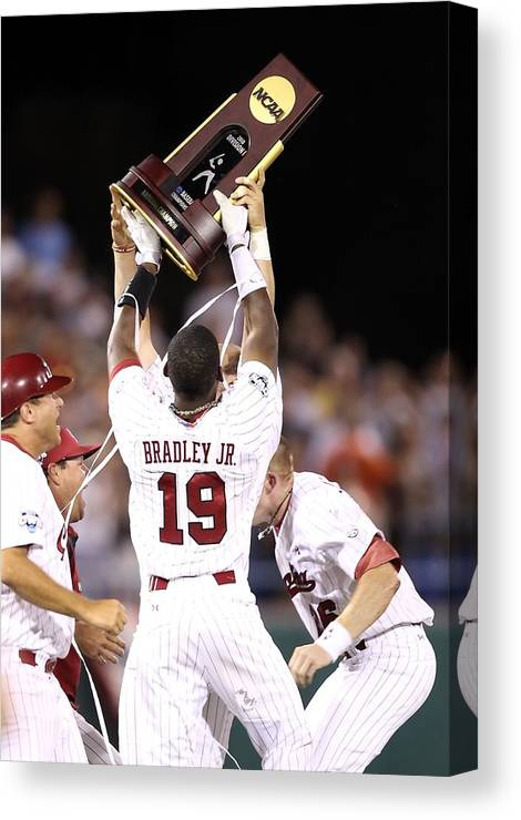 Game Two Canvas Print featuring the photograph College World Series - Game Two by Christian Petersen