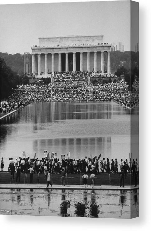 Timeincown Canvas Print featuring the photograph Crowd Of People Attending A Civil Rights by John Dominis
