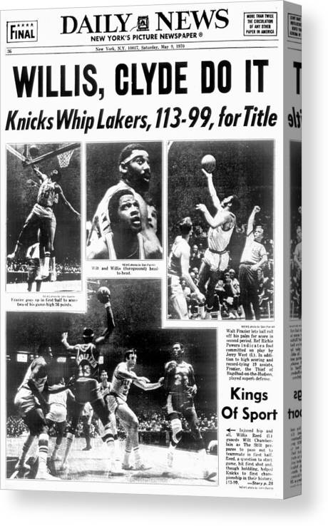 Nba Pro Basketball Canvas Print featuring the photograph Daily News Back Page Dated May 9, 1970 by New York Daily News Archive