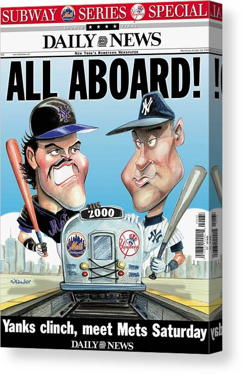 American League Baseball Canvas Print featuring the photograph Daily News Front Page Dated Oct. 18 by New York Daily News Archive