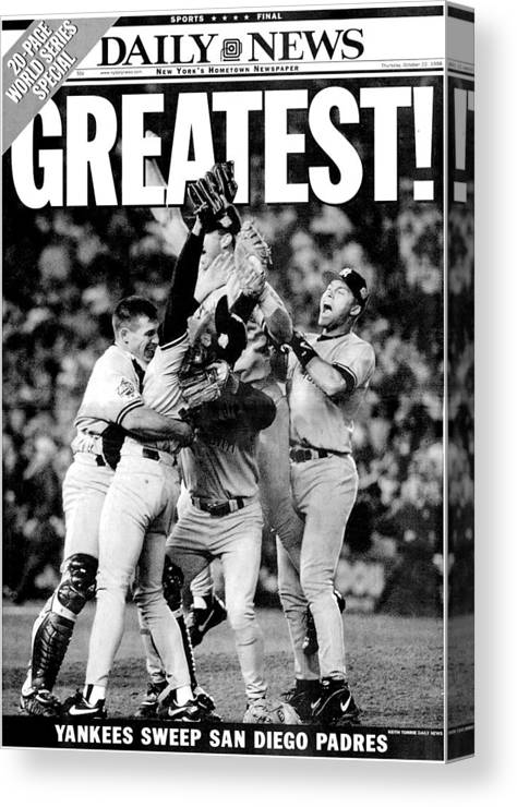 American League Baseball Canvas Print featuring the photograph Daily News Front Page Wrap Dated Oct by New York Daily News Archive