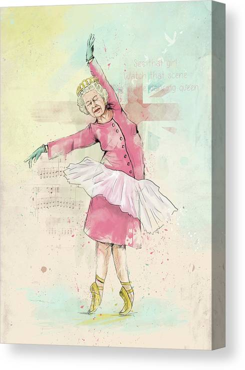 Queen Canvas Print featuring the mixed media Dancing queen by Balazs Solti