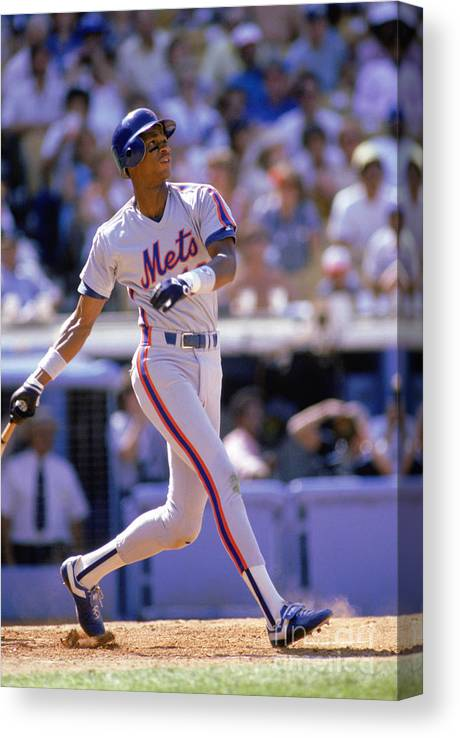 People Canvas Print featuring the photograph Darryl Strawberry Swings by Stephen Dunn