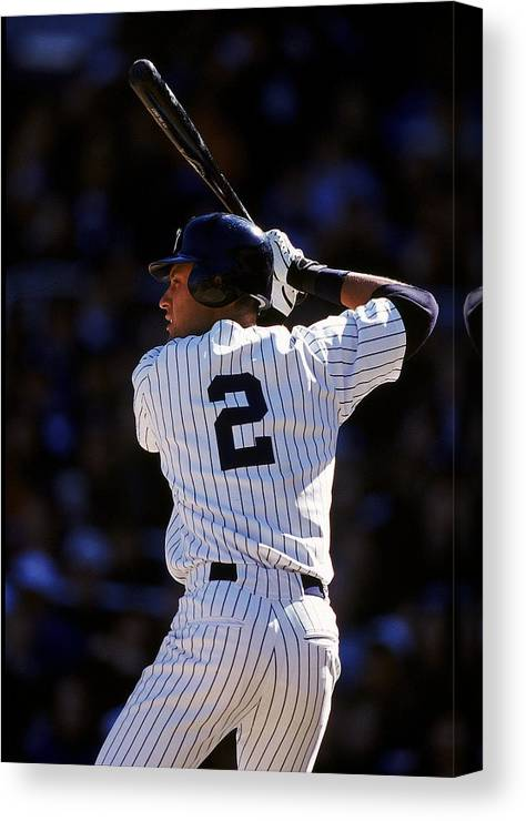People Canvas Print featuring the photograph Derek Jeter 2 by Al Bello