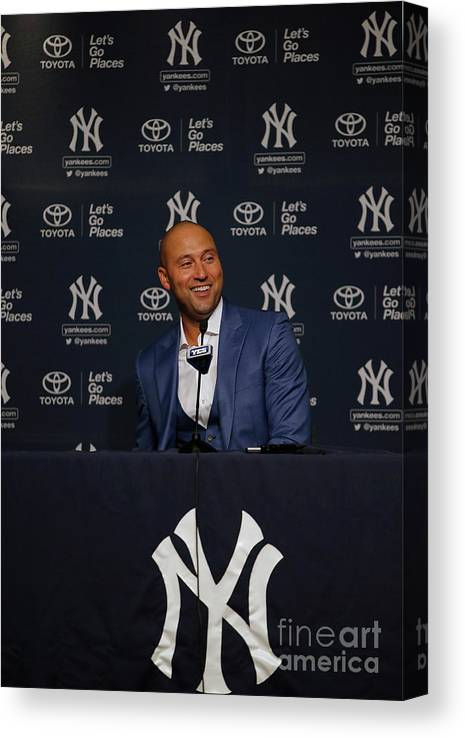 People Canvas Print featuring the photograph Derek Jeter Ceremony by Rich Schultz