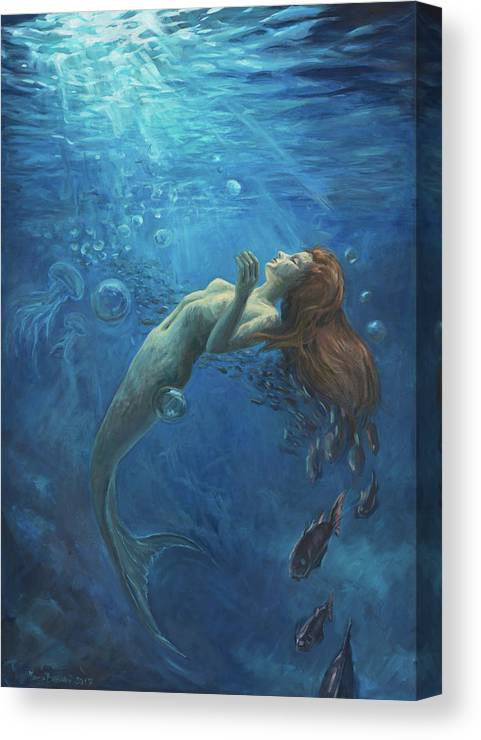 Mermaid Canvas Print featuring the painting Drops of light by Marco Busoni