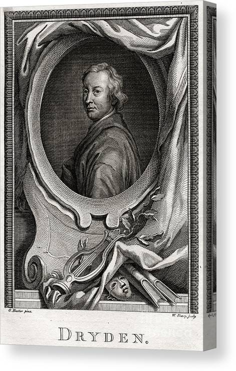 Engraving Canvas Print featuring the drawing Dryden, 1775. Artist W Sharp by Print Collector