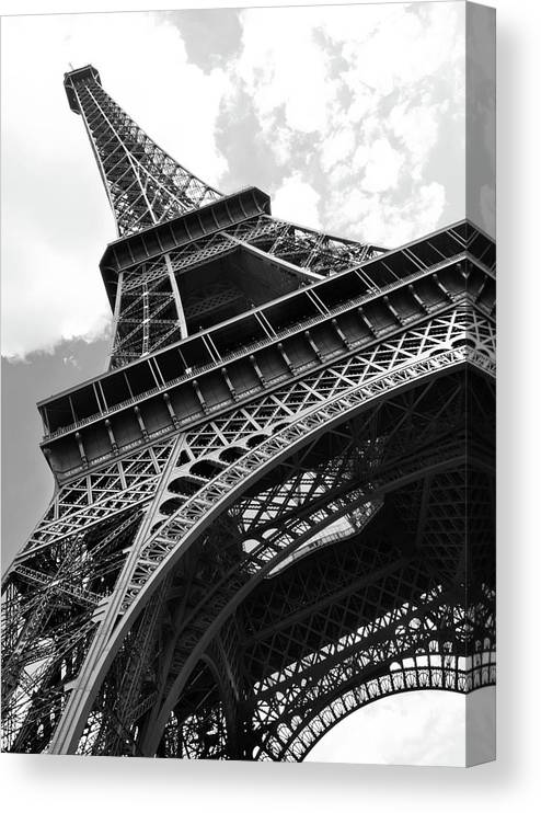 Black Color Canvas Print featuring the photograph Eiffel Tower In Black And White by Sarah8000
