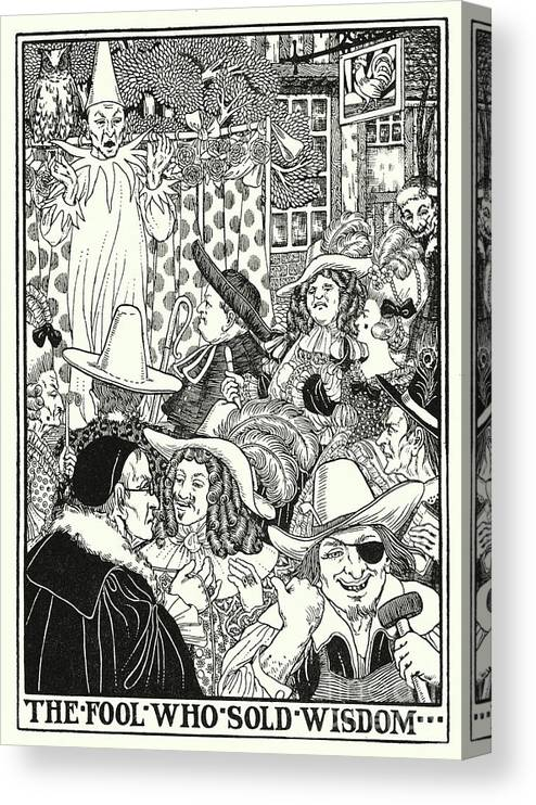 Border Canvas Print featuring the painting Fables Of La Fontaine, The Fool Who Sold Wisdom by Percy James Billinghurst