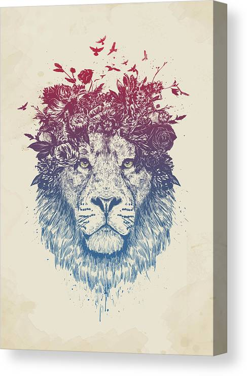 Lion Canvas Print featuring the drawing Floral lion III by Balazs Solti