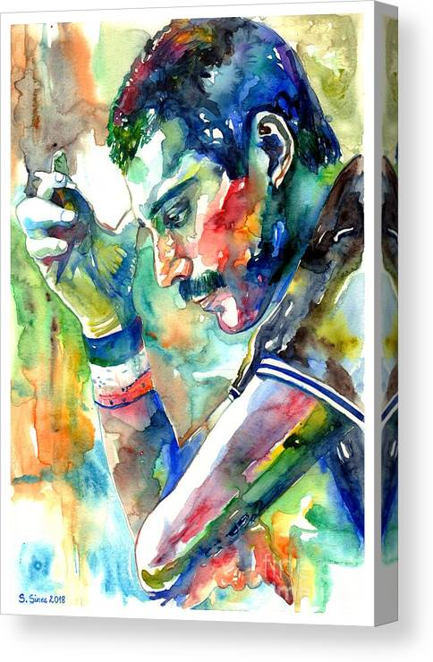 Freddie Mercury Canvas Print featuring the painting Freddie Mercury With Cigarette by Suzann Sines