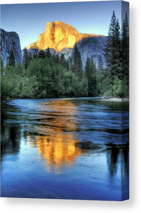 Scenics Canvas Print featuring the photograph Golden Light On Half Dome by Mimi Ditchie Photography