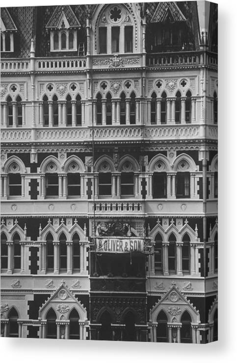 Gothic Style Canvas Print featuring the photograph Gothic Architecture Office Building. P by John Dominis