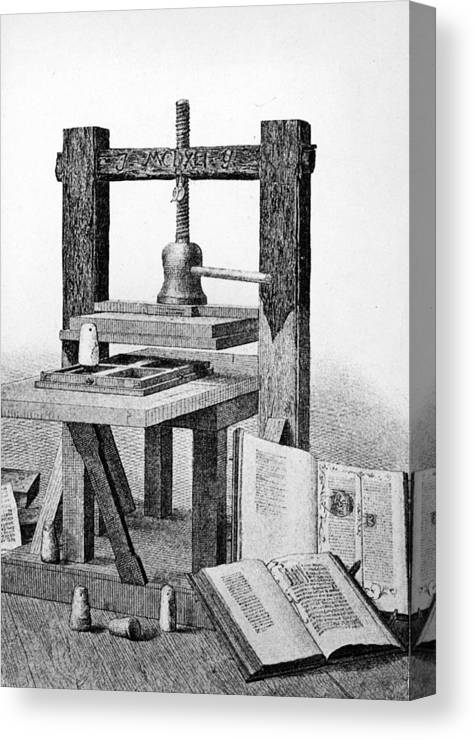 Engraving Canvas Print featuring the photograph Gutenberg Printing Press by Authenticated News