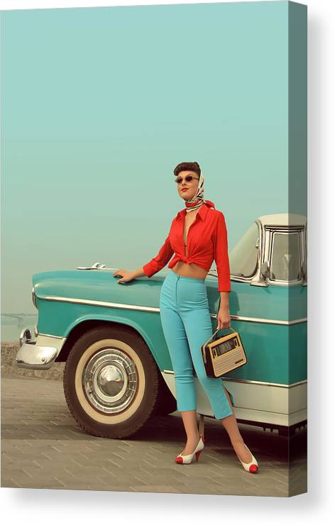 People Canvas Print featuring the photograph I Am Back by Retroatelier