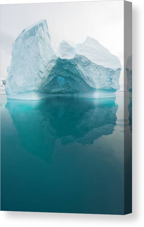 Iceberg Canvas Print featuring the photograph Iceberg And Reflections, Antarctic by Eastcott Momatiuk