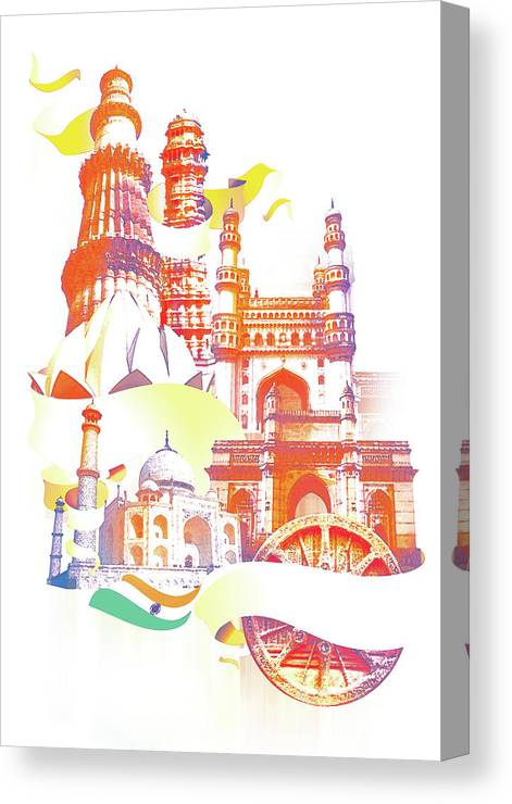 Architectural Feature Canvas Print featuring the digital art Indian Monuments Collage by Anand Purohit