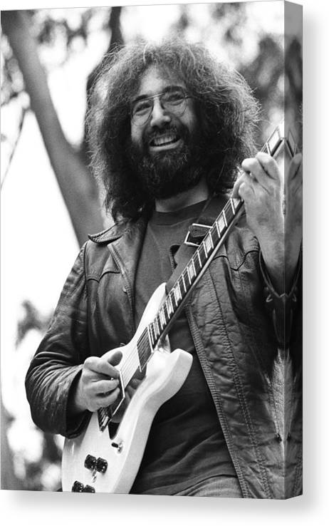 Music Canvas Print featuring the photograph Jerry Garcia Performs Live by Richard Mccaffrey