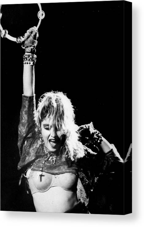 Madonna - Singer Canvas Print featuring the photograph Madonna Concert Performs At Madison by New York Daily News Archive