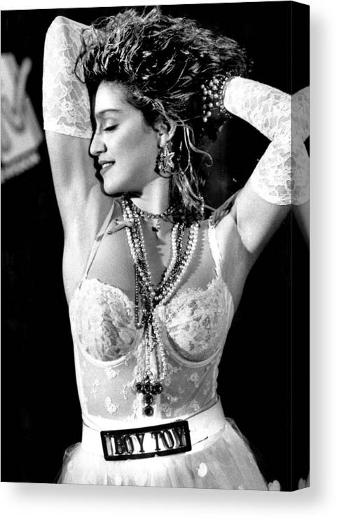 1980-1989 Canvas Print featuring the photograph Madonna During A Performance At Mtv by New York Daily News Archive