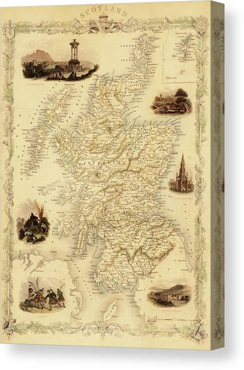 Journey Canvas Print featuring the digital art Map Of Scotland From 1851 by Nicoolay
