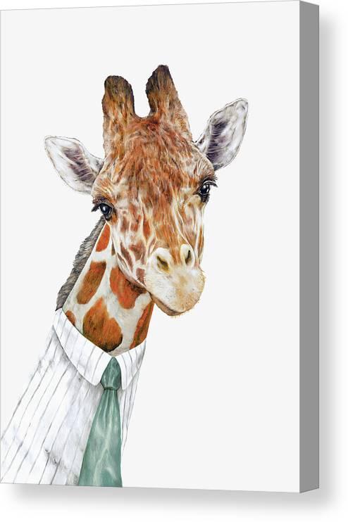 Giraffe Canvas Print featuring the painting Mr Giraffe by Animal Crew