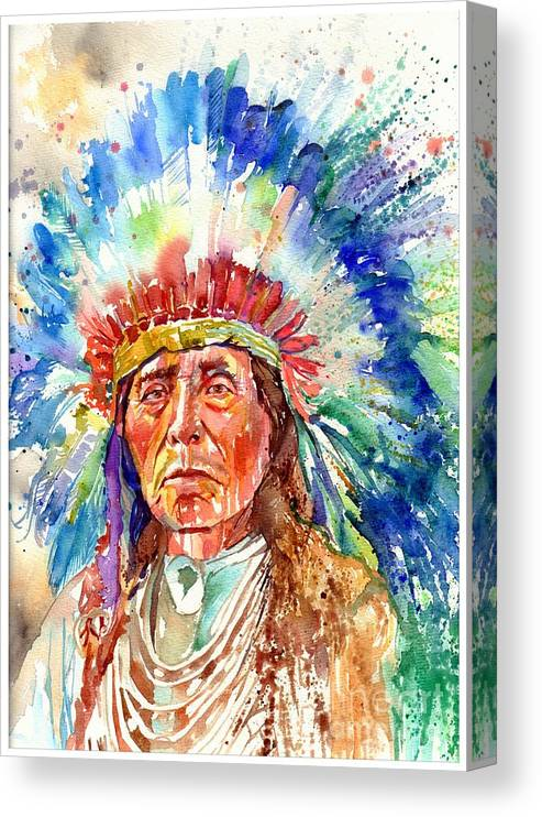 Iowa Canvas Print featuring the painting Native American Chief by Suzann Sines