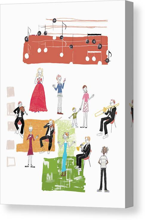 People Canvas Print featuring the digital art Party Image by Daj