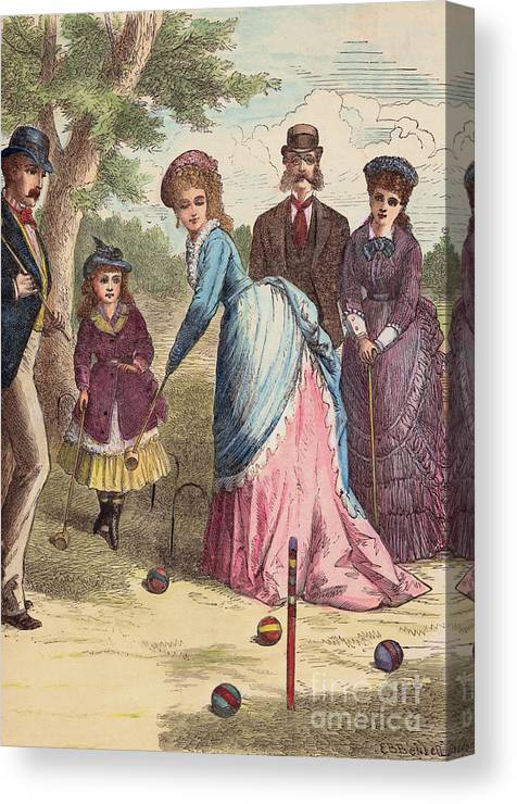 Art Canvas Print featuring the photograph People Playing Croquet by Bettmann
