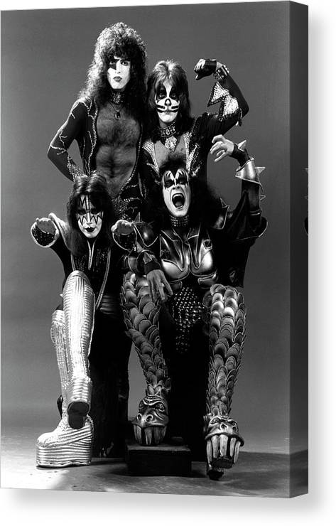 Heavy Metal Canvas Print featuring the photograph Photo Of Ace Frehley And Peter Criss by Fin Costello