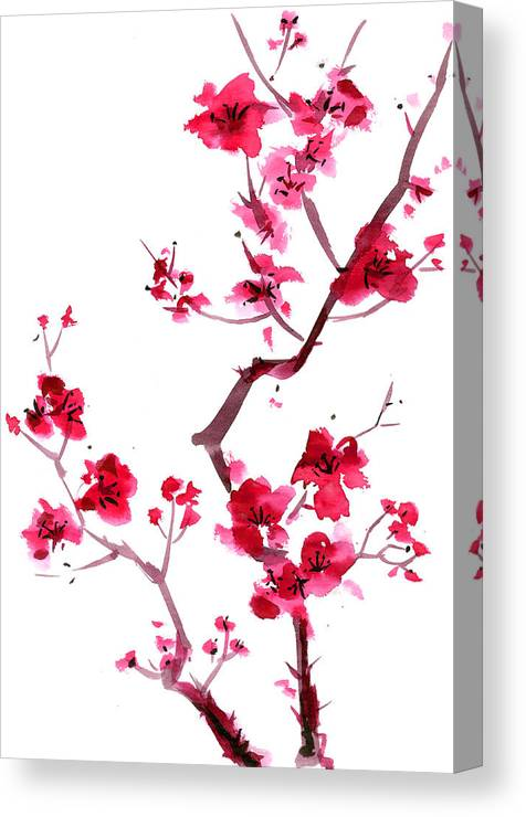Watercolor Painting Canvas Print featuring the digital art Plum Blossom Painting by Kaligraf
