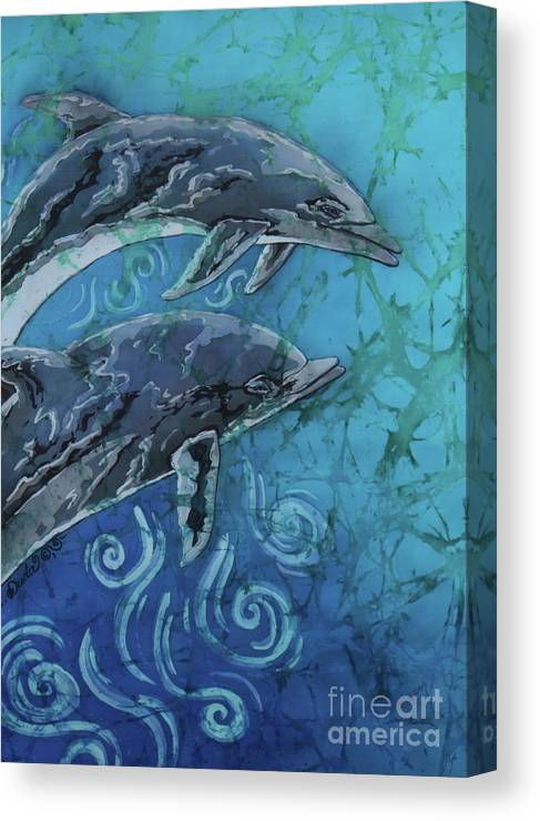 Porpoise Canvas Print featuring the painting Porpoise Pair - Close Up by Sue Duda